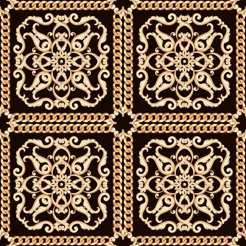 Motif damassé sans soudure. Or sur la texture noire avec des chaînes. Illustration vectorielle vecteur