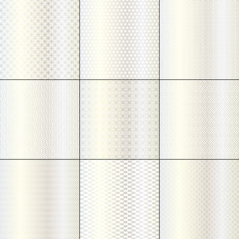 motifs géométriques mod métalliques, argentés et blancs vecteur