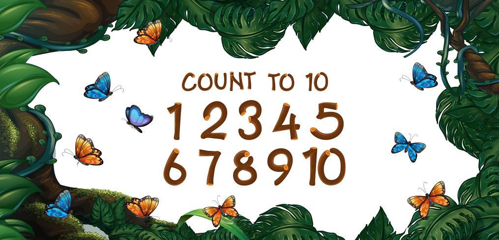 Compter les nombres de un à dix avec fond de forêt vecteur