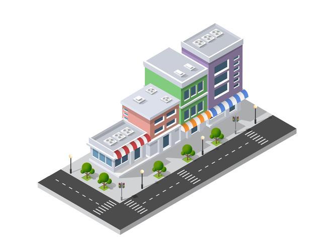 Quartier, rue, ville, maisons, isométrique vecteur