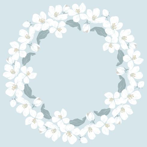 Cerisier en fleurs rond motif sur fond bleu vecteur