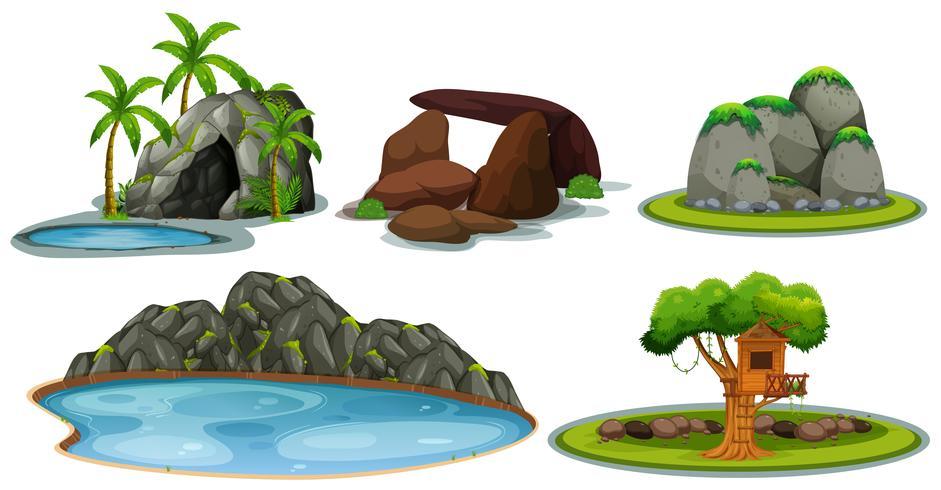 Un ensemble de pierre et de nature vecteur