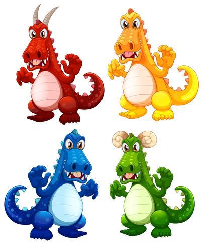 Ensemble de différents dragons vecteur