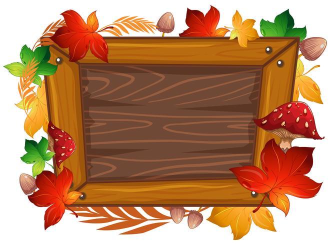 Thème automne cadre bois vecteur