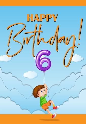 Voiture d'anniversaire pour garçon de six ans vecteur