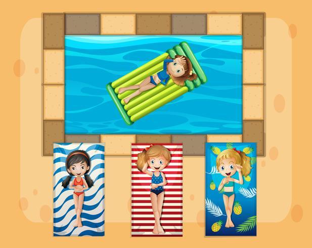 Un groupe de filles bronzant au bord de la piscine vecteur