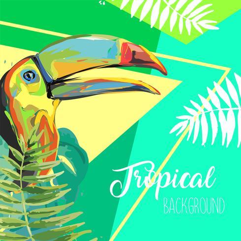 Feuilles tropicales et bannière d'été toucan. vecteur