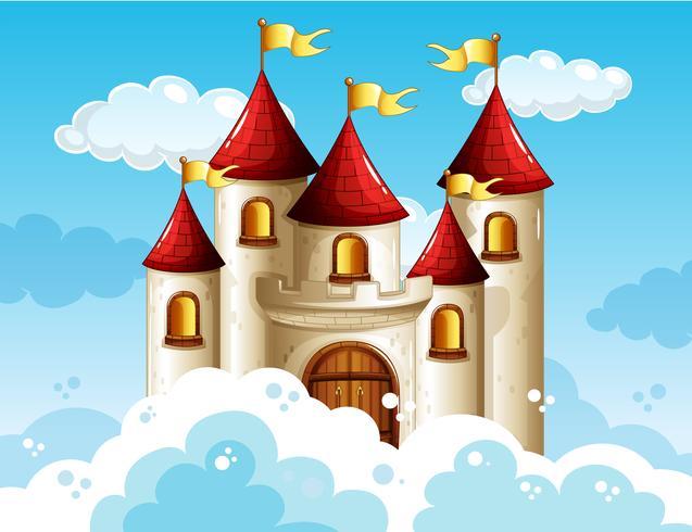 Un château de conte de fées sur ciel vecteur