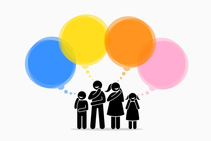 Différents membres de la famille pensent à différentes choses. vecteur