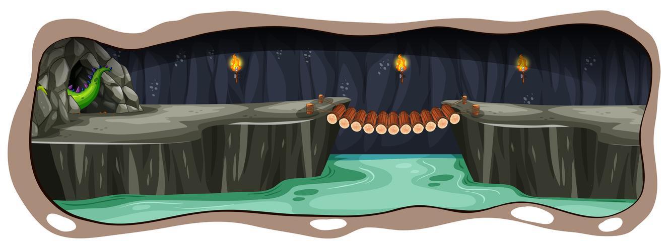Une grotte effrayante de dragon noir vecteur