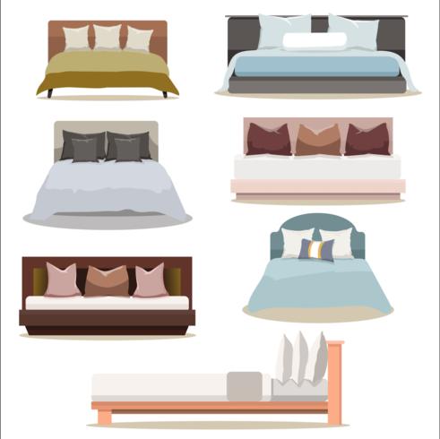 Ensemble de collection pour lit double design moderne vecteur