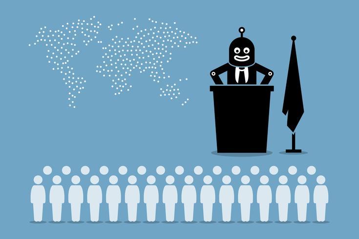 Président de robot et gouvernement intelligent artificiel contrôlant le pays et le monde de l'homme. vecteur