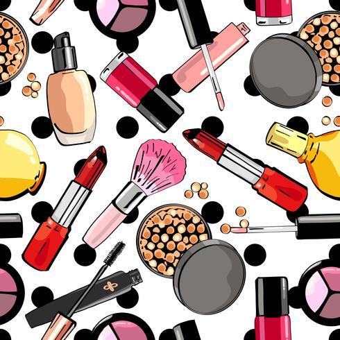 Modèle sans couture avec des produits de maquillage. Produits de beauté. vecteur