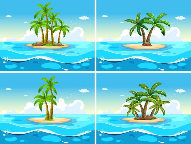 Quatre scènes avec une île à la mer vecteur