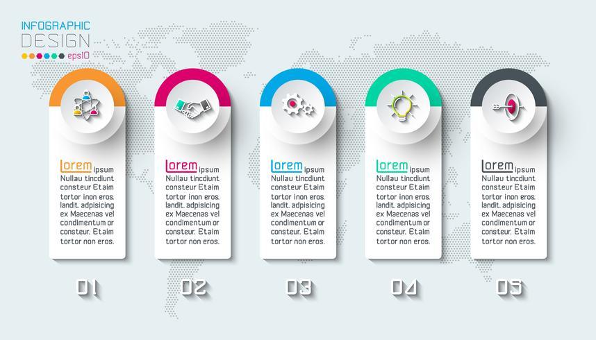 Infographie des entreprises en 5 étapes. vecteur