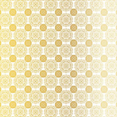modèle de médaillon circulaire orné d'or blanc vecteur