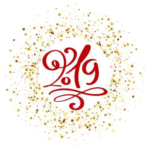 Modèle de conception de carte de voeux avec texte 2019 de calligraphie. Nouvel An numéro 2019 lettrage dessiné à la main. Illustration vectorielle vecteur