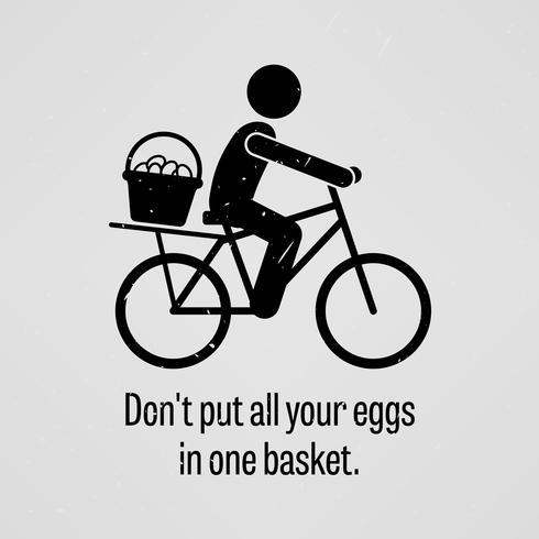 Ne mettez pas tous vos œufs dans le même panier. vecteur