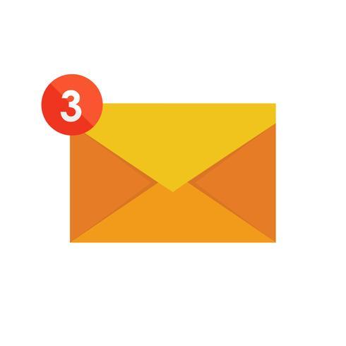 Publicité par e-mail. Boîte aux lettres et enveloppes entourées de notifications par des icônes. vecteur