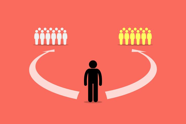 Homme choisissant de se joindre à deux équipes ou à deux groupes de personnes. vecteur