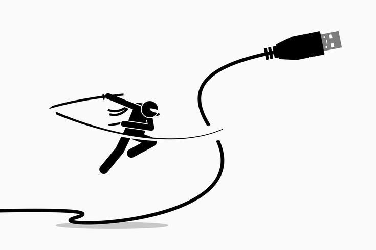 Ninja coupe la fiche du câble USB. vecteur