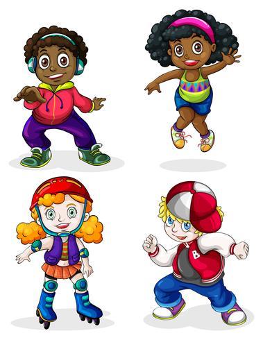 Enfants noirs et de race blanche vecteur