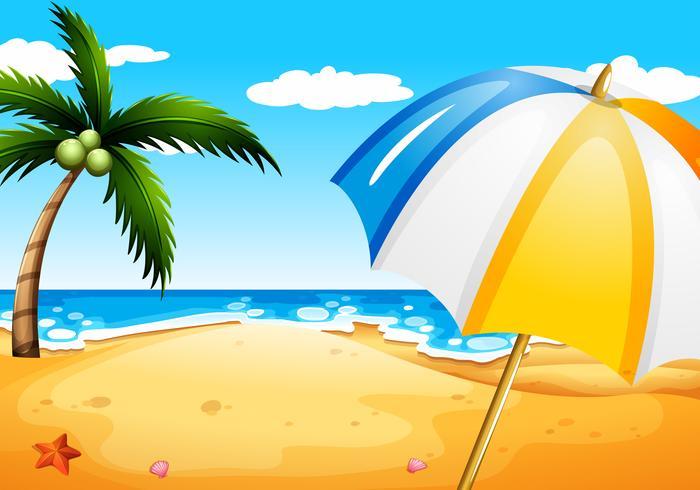 Une plage avec un parapluie vecteur