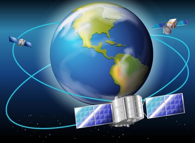 Satellites entourant la planète Terre vecteur