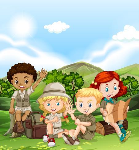 Enfants campant en journée vecteur