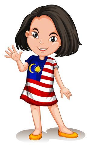 Fille malaisienne en agitant bonjour vecteur