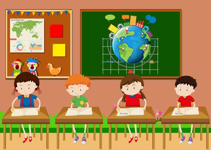 Beaucoup d'étudiants apprennent en classe vecteur