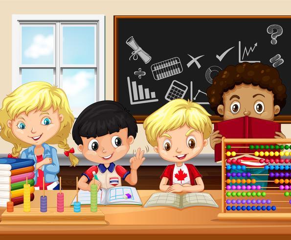 Les enfants étudient en classe vecteur