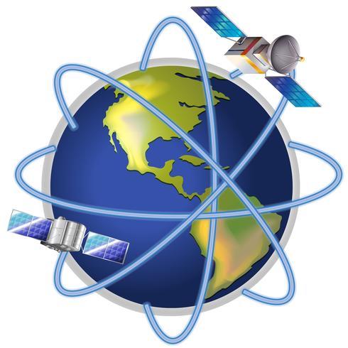 Un satellite autour de la planète vecteur