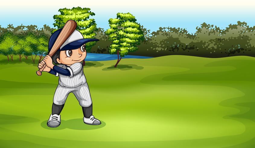 Un garçon jouant au baseball vecteur