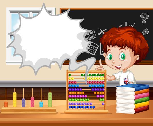 Garçon debout dans la classe de mathématiques vecteur