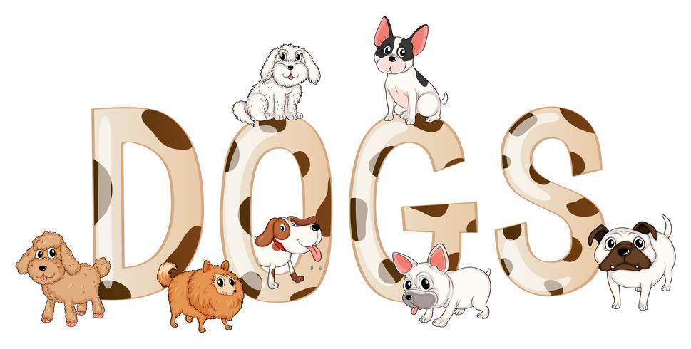 Mot design avec des chiens mignons vecteur