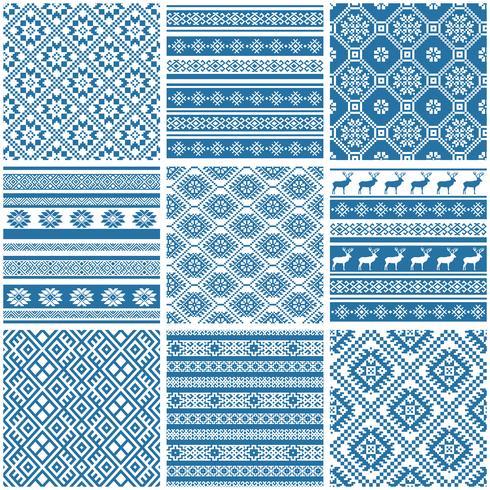 motifs sans soudure ethniques ornementales bleu et blanc vecteur