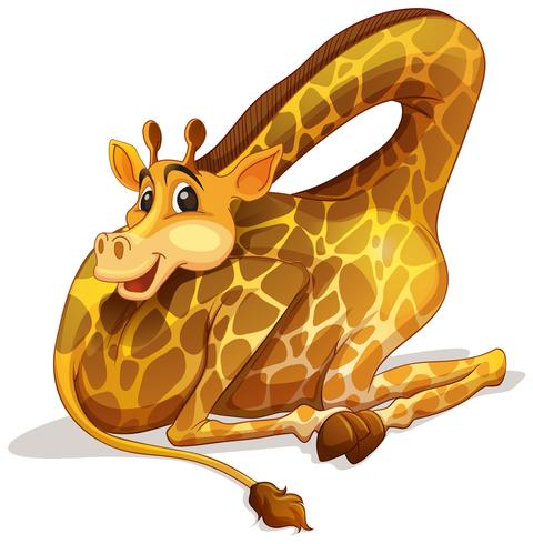 Jolie girafe en pliant son cou vecteur