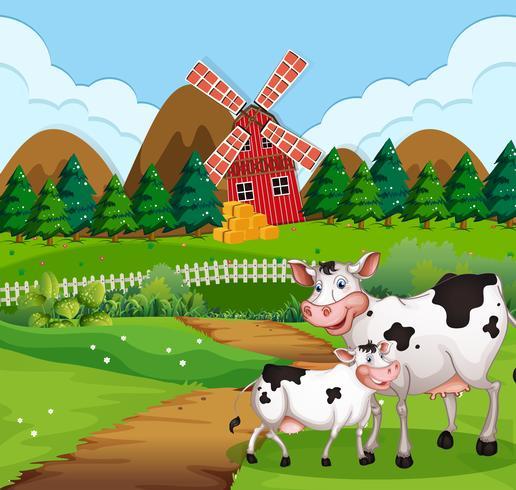 Vache dans une scène de terres agricoles vecteur
