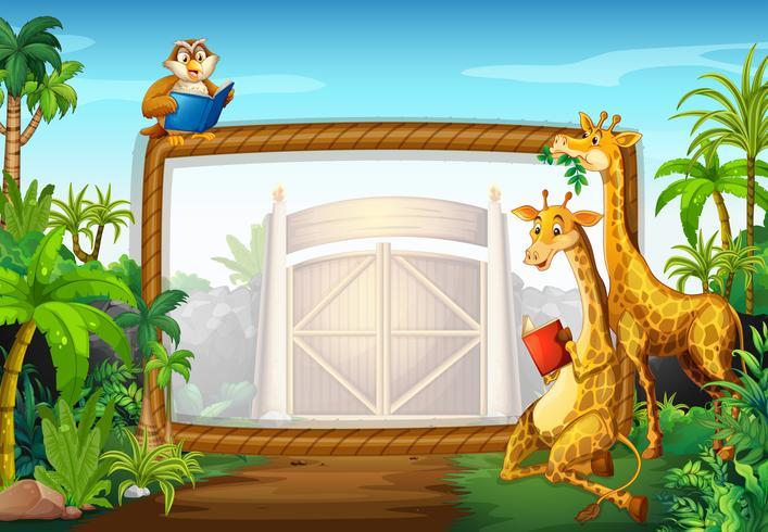 Cadre design avec girafe et hibou vecteur