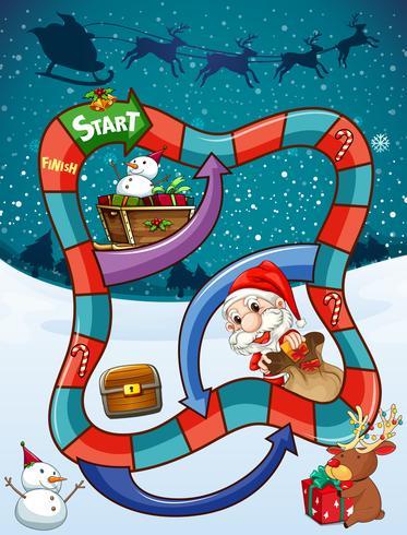 Modèle de jeu avec Père Noël et cadeaux vecteur