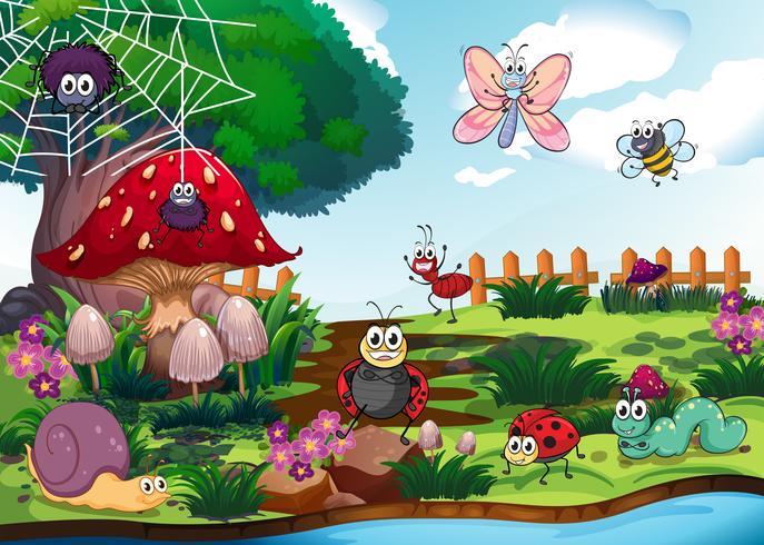 Des insectes vivant au bord de la rivière vecteur