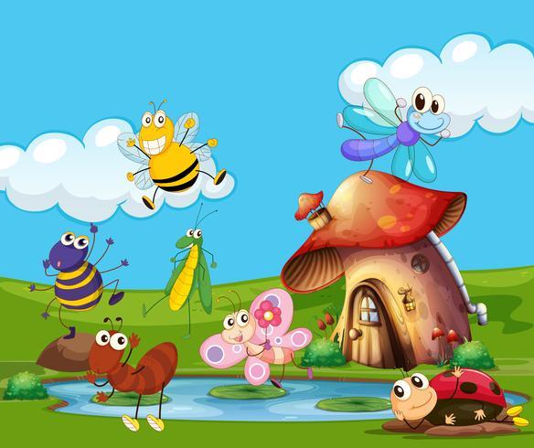 Insectes volant autour de l'étang vecteur
