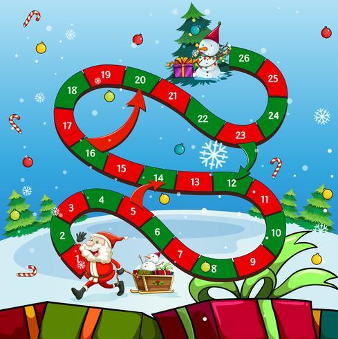 Modèle de jeu avec Père Noël et arbre vecteur