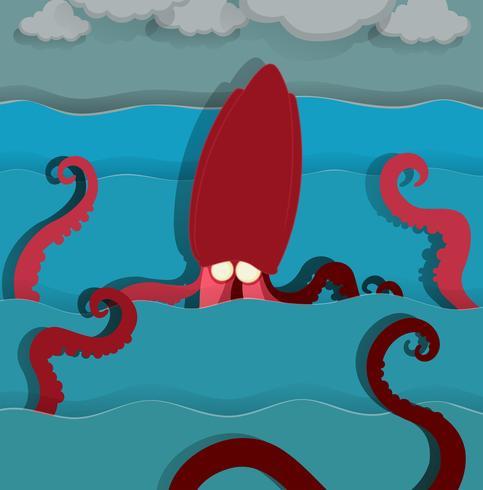 Monstre marin nageant dans l'océan vecteur