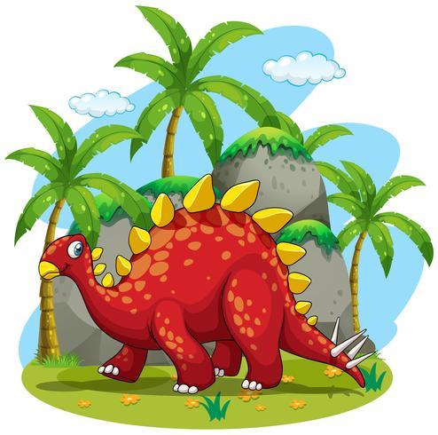 Dinosaure marchant dans le champ vecteur