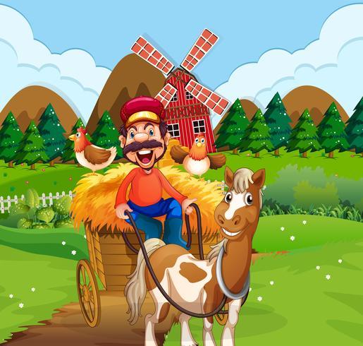 Heureux fermier chariot d'équitation vecteur