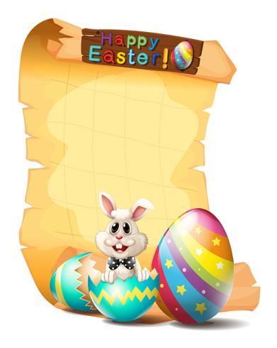 Modèle de papier avec lapin de Pâques vecteur