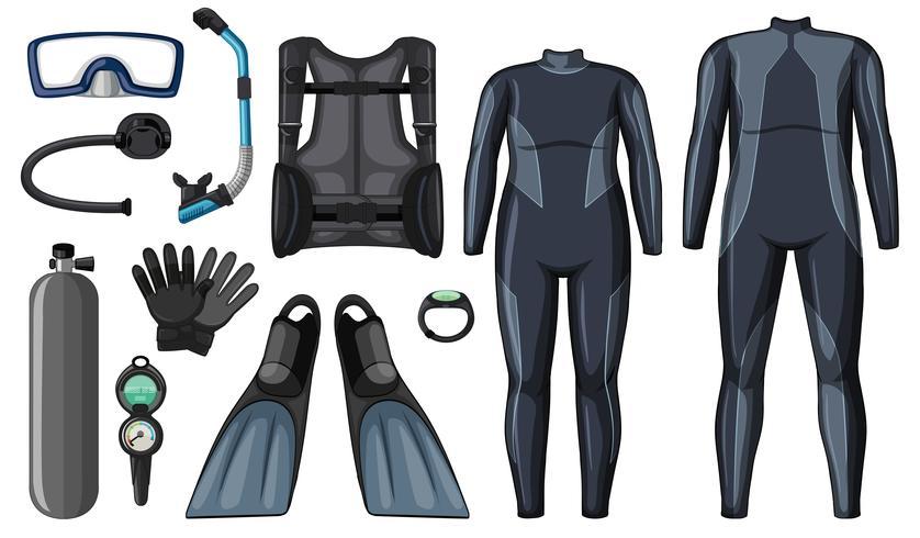 Matériel de plongée sous-marine de couleur noire vecteur