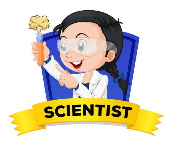 Wordcard de profession avec femme scientifique vecteur